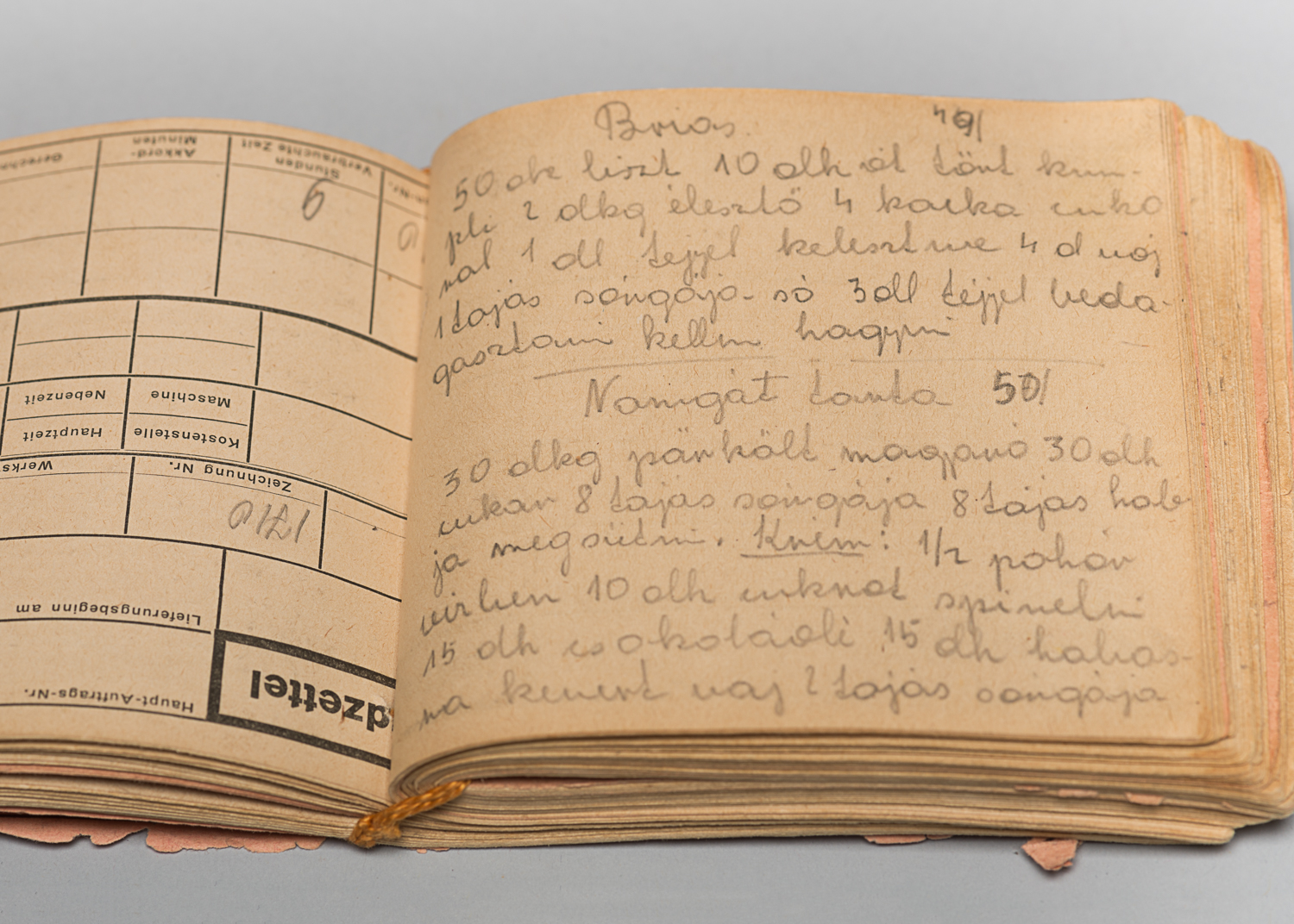 In her barrack, Edith wrote down recipes that she remembered preparing before the war. She also asked other inmates to contribute their favourite recipes. (Photo : Peter Berra)