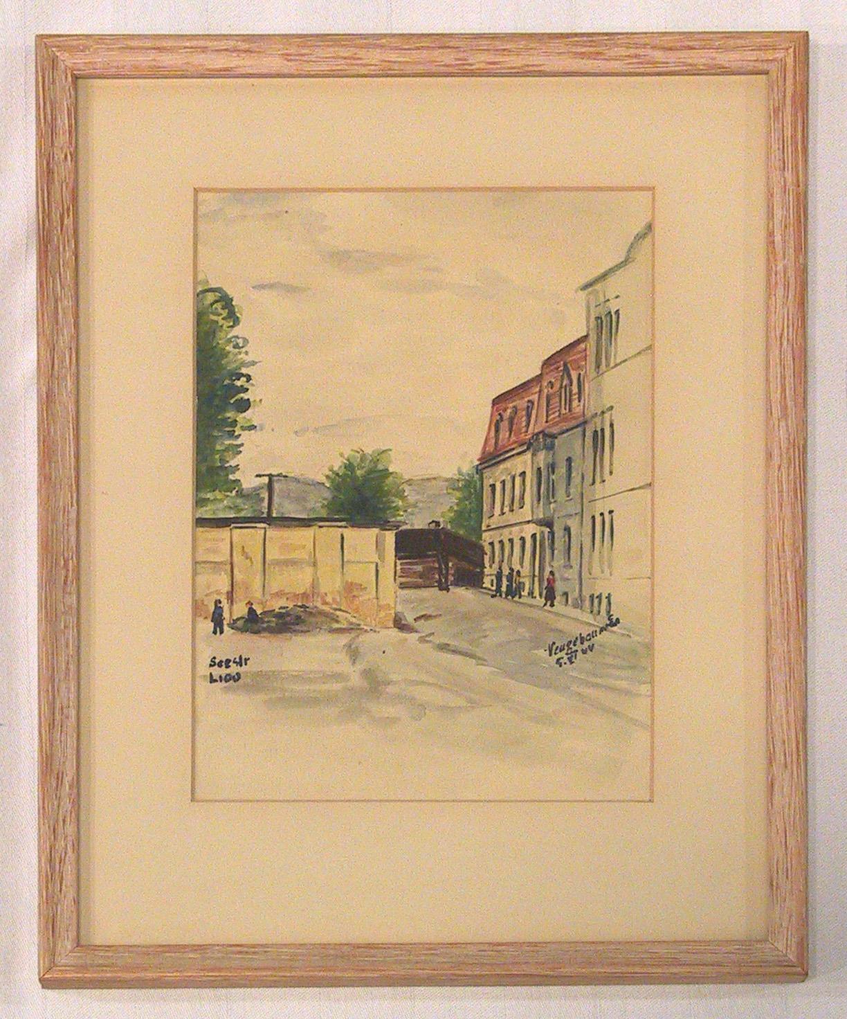 Le Bloc L du ghetto de Theresienstadt peint par Edvard Neugebauer pour la propagande allemande.