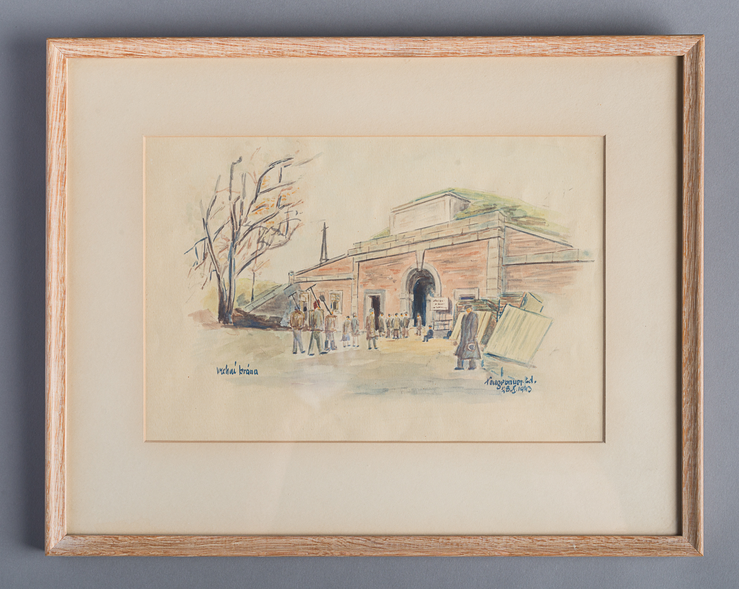 This is a watercolour painting of the main entrance gate to the Theresienstadt ghetto in the Czech Republic.The painting was created by Edvard Neugebauer in Terezin (Theresienstadt) on August 28, 1943. (Photo: Peter Berra)