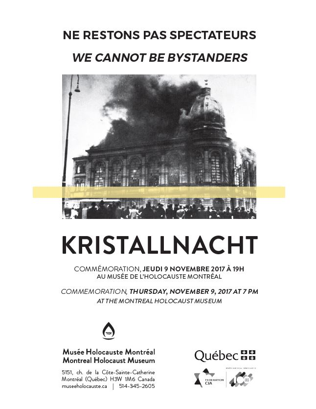 Commemoration of Kristallnacht at the Montreal Holocaust Museum on November, 9, 2017