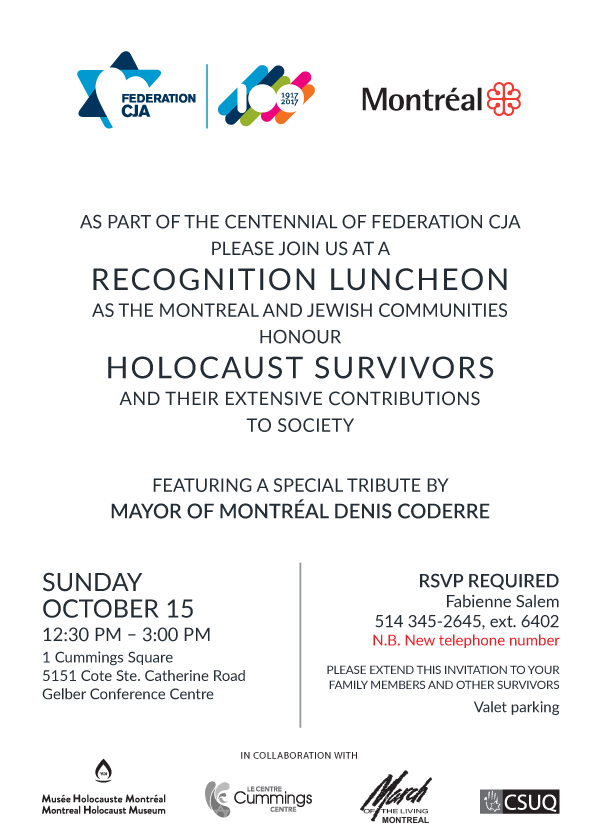 Holocaust survivor recognition luncheon