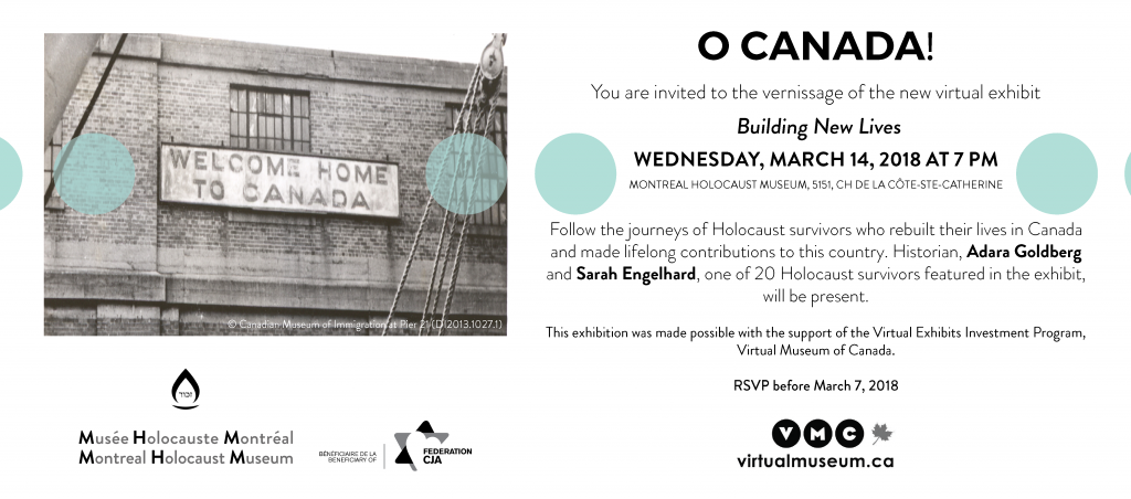 Invitation to the launch of the virtual exhibit, Building New Lives