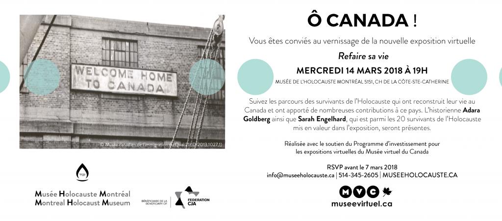 Invitation au lancement de l'exposition virtuelle Refaire sa vie le 14 mars 2018 au Musee de l'Holocauste Montreal