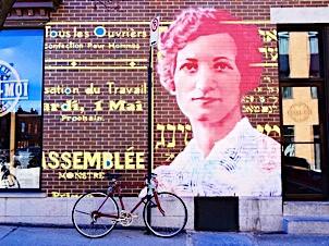 2014. Murale Hommage à Léa Roback à l'intersection de l'avenue du Mont-Royal et de la rue Saint-Dominique à Montréal.