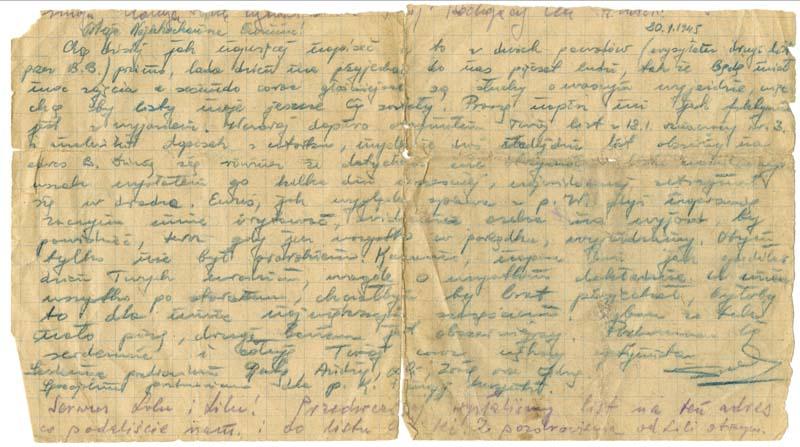 Le recto de la lettre écrite le 20 janvier 1945 par Henry Majerczyk dans le camp de Waldenburg à destination d'Eva Majerczyk. Dans cette lettre, Henry exprime notamment sa préoccupation quant aux rumeurs de la déportation des femmes du camp de Ludwigsdorf.