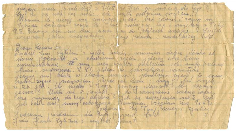 The back of the letter written on January 20, 1945 by Henry Majerczyk in the Waldenburg camp to Eva Majerczyk. Other prisoners in the Waldenburg concentration camp also left messages on the letter.