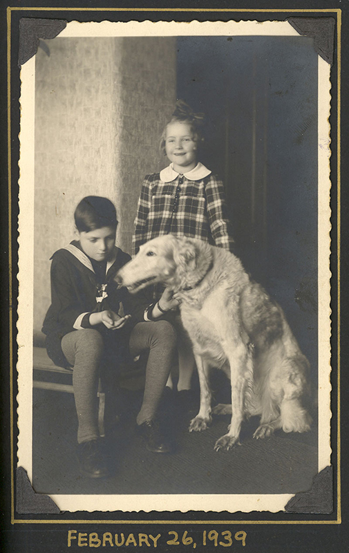 George and Hana with their dog Sylva.