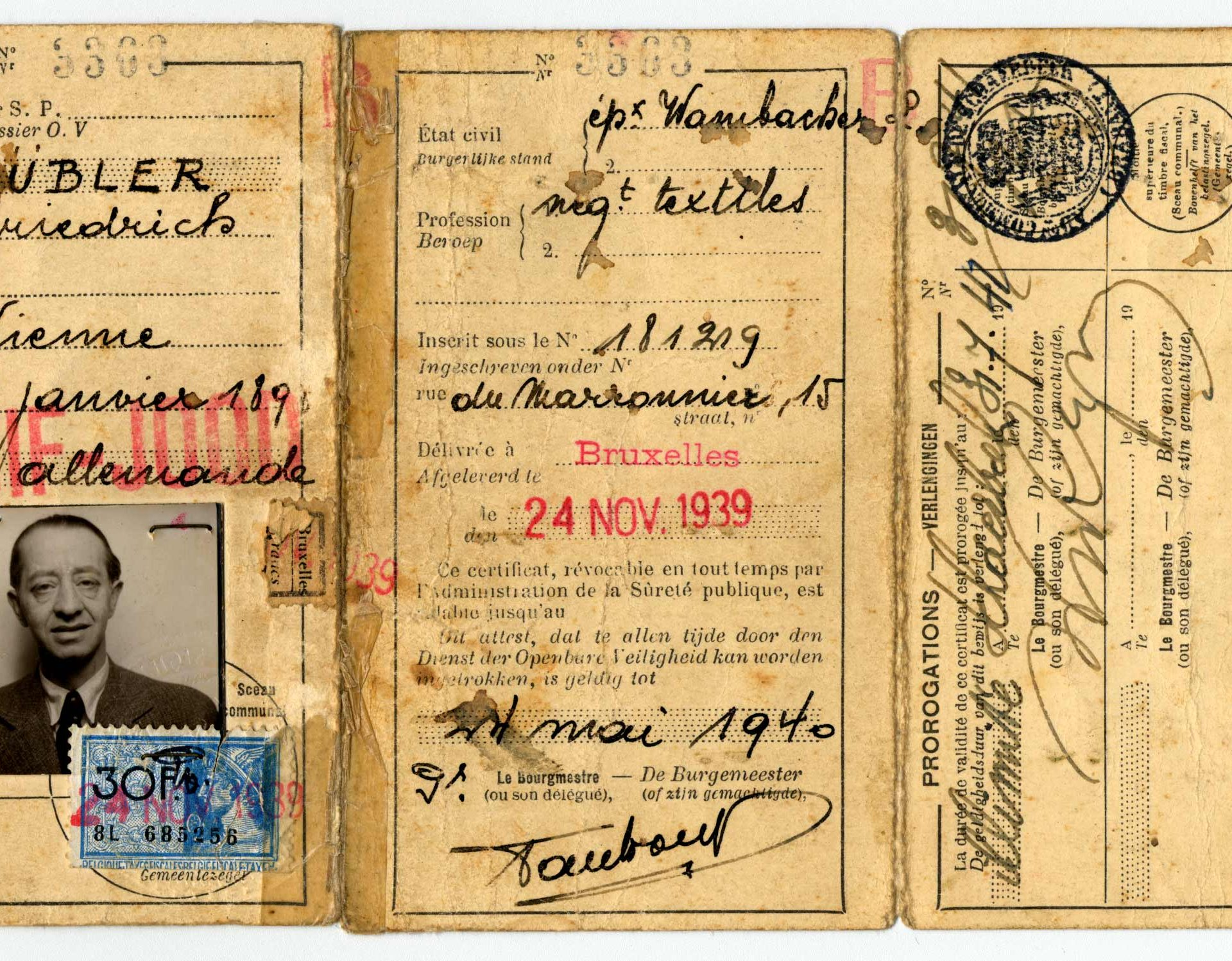 Carte d'identité de Friedrich Rübler.