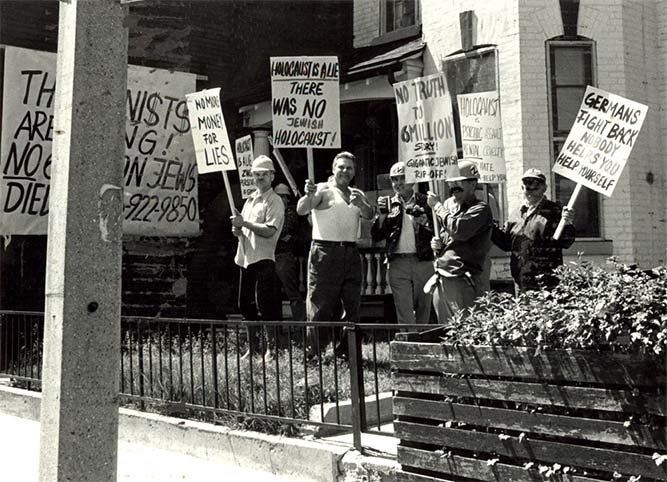 Holocaust deniers protesting in Toronto. Canada, May, 1981. Photographer: Ben Lechtman. Source: Canadian Jewish Congress CC National Archives.