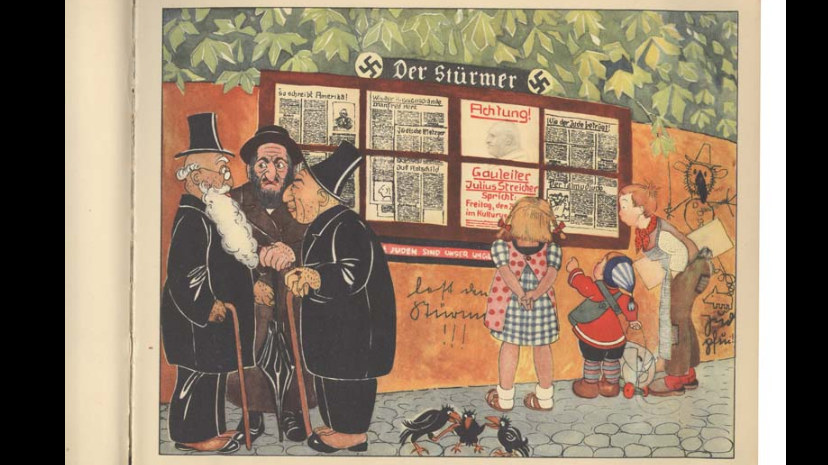 Stage 4 : Dehumanisation. Taken from a children's book, this illustration compares Jews to ravens. Germany, 1936. Source : Montreal Holocaust Museum