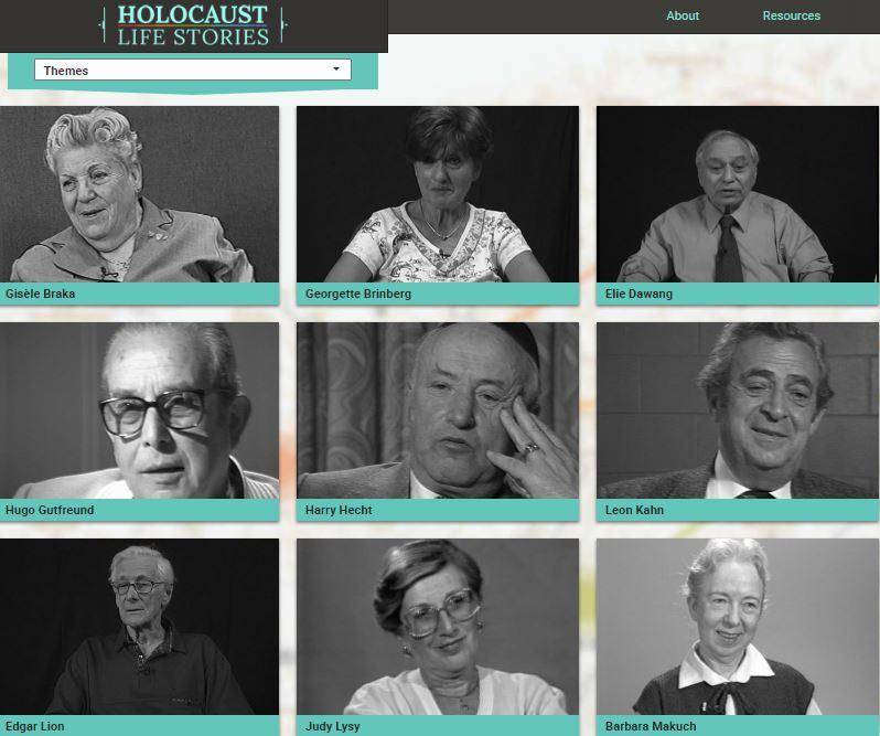 "Virtual exhibition ""Holocaust Life Stories"" with testimonies about different themes."