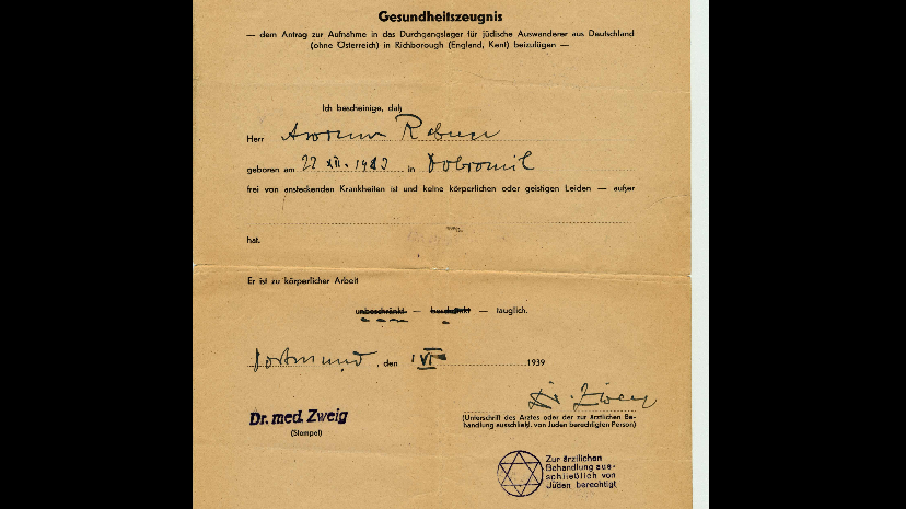 "Stage 6 : Polarisation. Medical certificate granted to Avrum Rabner, Germany 1939. The stamp in the lower right-hand corner indicates that he was permitted to treat Jewish patients only. As of July 1938, it was illegal for Jewish doctors to treat ""Aryan"" patients. Source : Montreal Holocaust Museum"