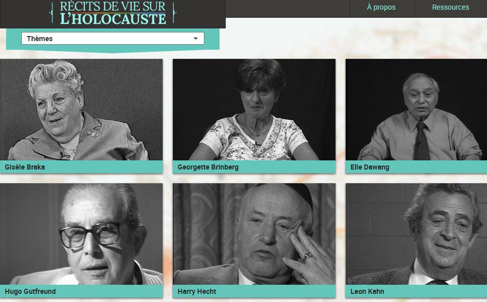 Exposition virtuelle « Récits de vie sur l'Holocauste » constituée de témoignages de survivants.
