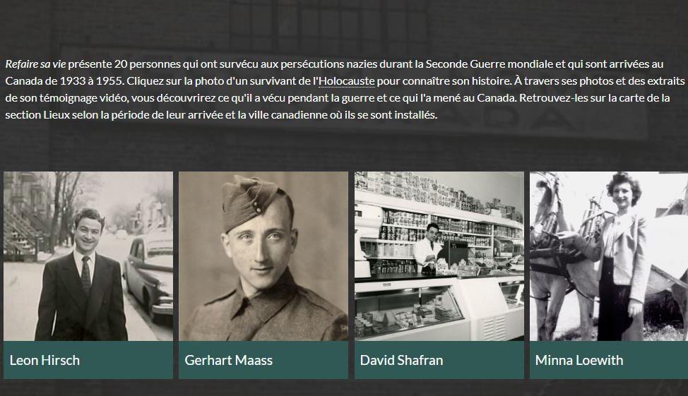 Exposition virtuelle « Refaire sa vie » avec témoignages et parcours de survivants de l'Holocauste ayant immigré au Canada.