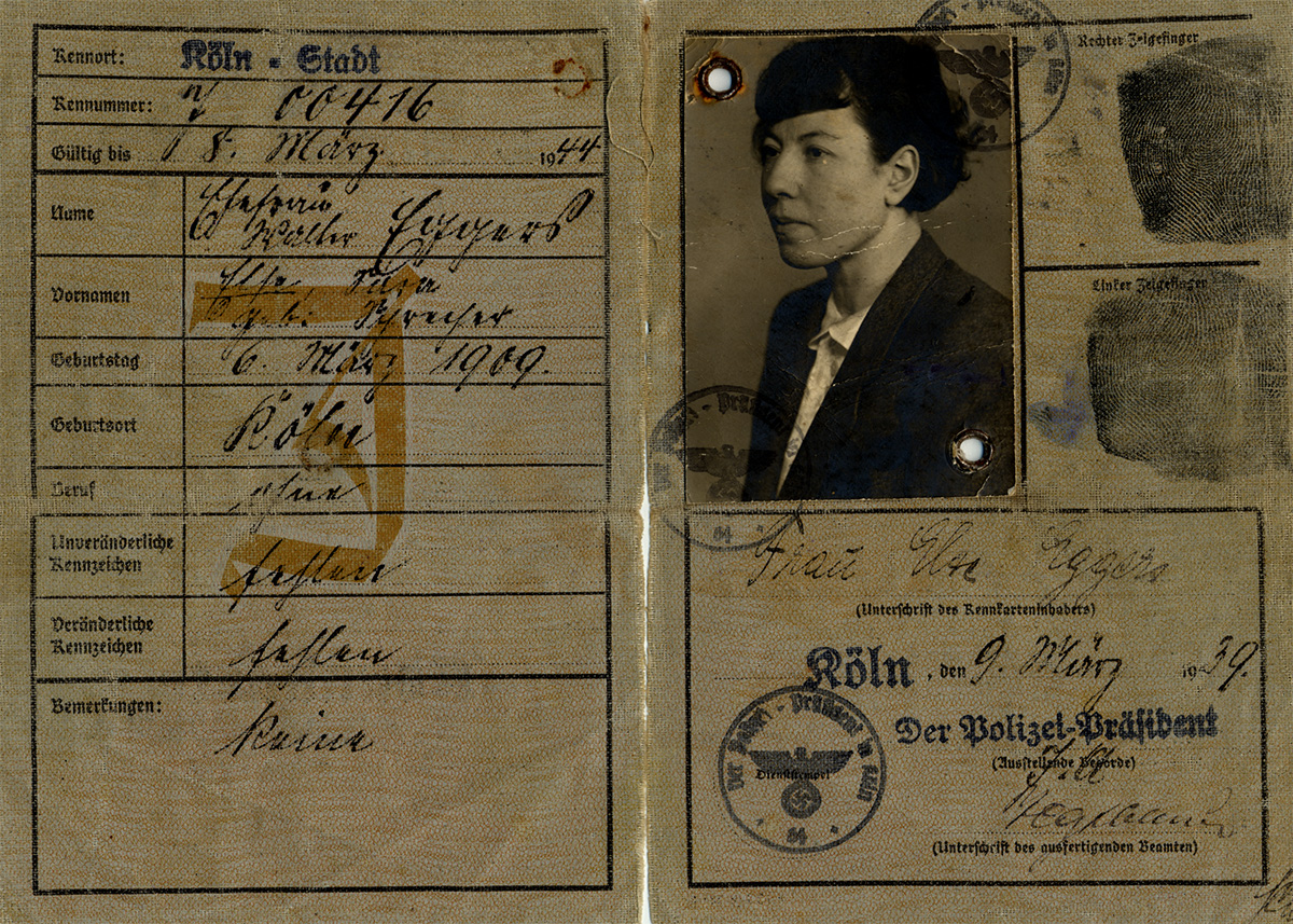 "This identification card belonged to Else Eggers. Because she was Jewish, Nazi officials stamped her card with a ""J"" and added ""Sara"" to her name. (Montreal Holocaust Museum's Collection, donated by Edith Borenstein)"