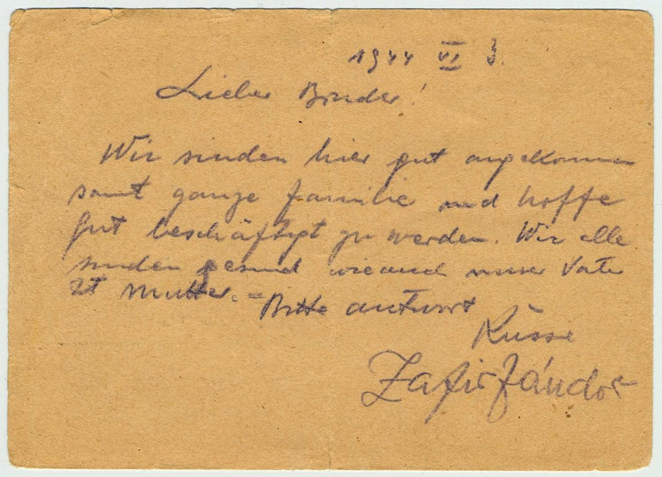 A clerk wrote it in German; Sandor was asked to address it to a family member and to sign it. Sandor chose to send the card to his brother who was a prisoner in a Hungarian labour battalion at the time. The text is designed to reassure the family that all is well. The differences between the clerk's handwriting and Sandor's are clearly visible in the signature.