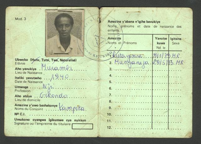 Carte d'identité rwandaise indiquant que son titulaire est tutsi