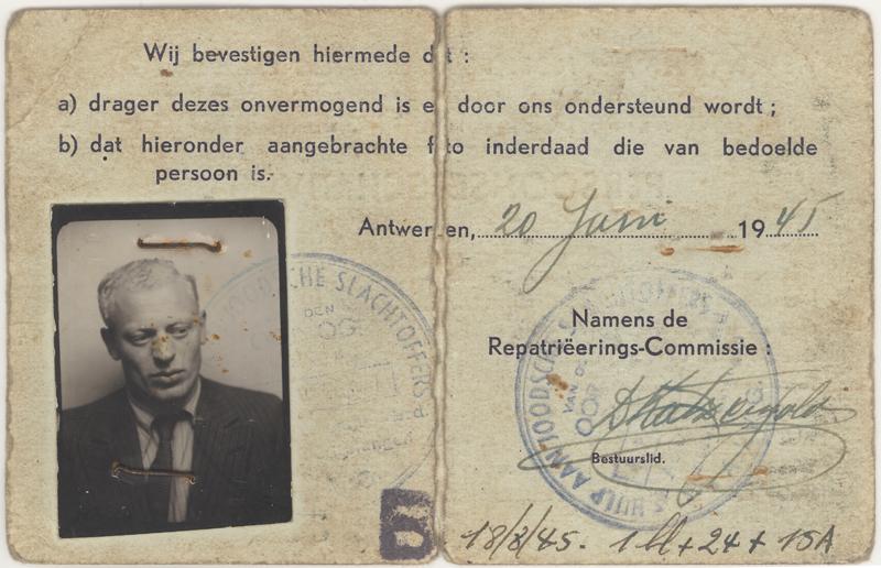 Carte d'identité avec photographie de Zigmund Schick émise par la Commission belge au rapatriement le 20 juin 1945. La Commission certifie être responsable de lui.