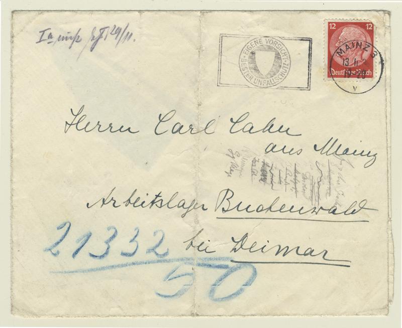 Enveloppe d'une lettre que Karl a reçue au camp de concentration de Buchenwald. Ce serait l'enveloppe qui contenait la lettre dans laquelle Marie lui annonce que le gouvernement canadien les autorise à venir.