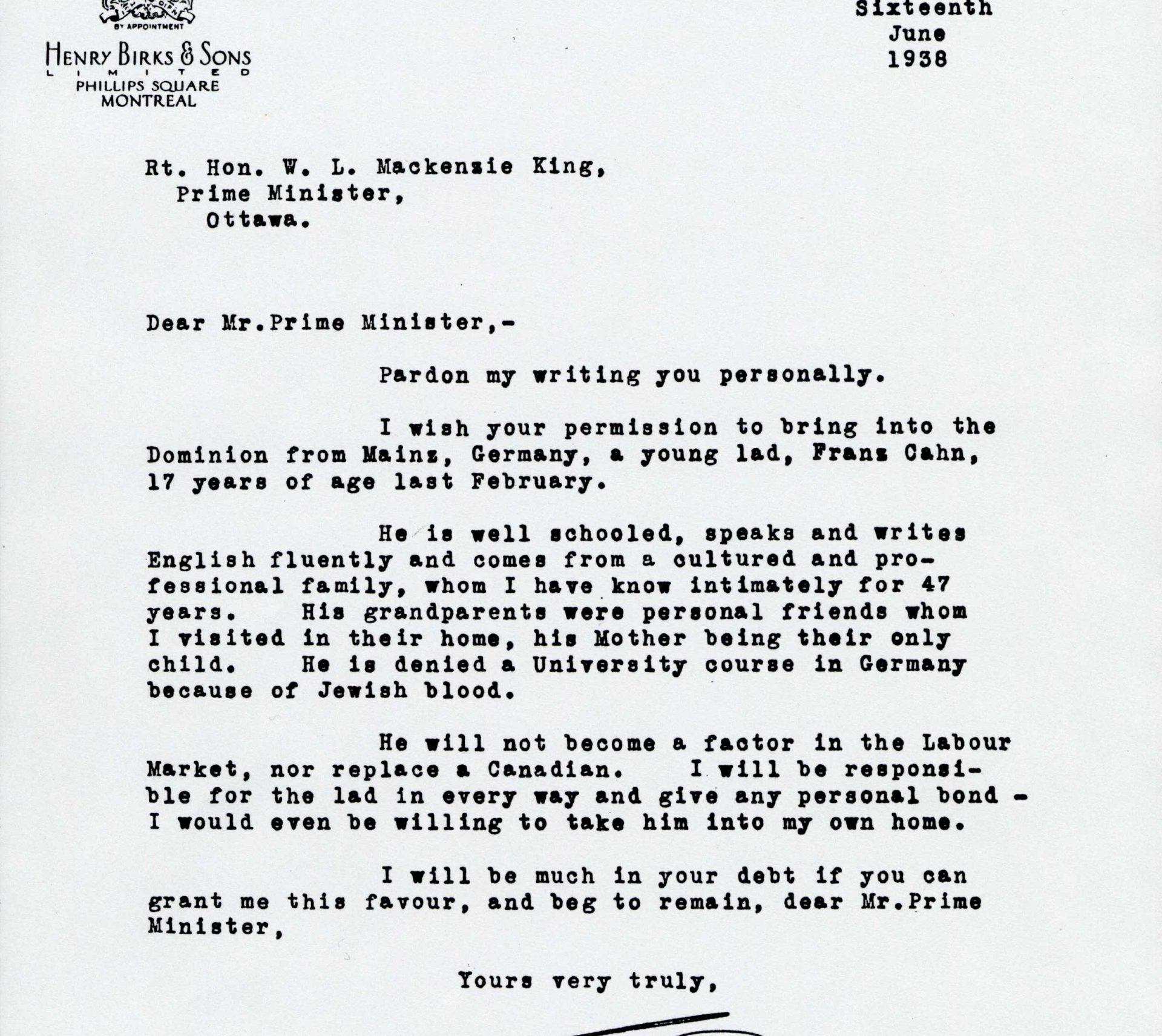 Copie de la lettre que le bijoutier et homme d'affaires William Birks a adressée au premier ministre d'alors, William Lyon Mackenzie King.