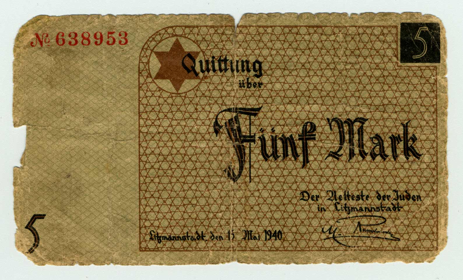 This paper money from the Lodz ghetto belonged to Avrum Feigenbaum. Ghettos were neighbourhoods in which Jews were confined in deplorable living conditions. The inhabitants of the ghetto were forced to use this currency to prevent them from interacting with the outside world.